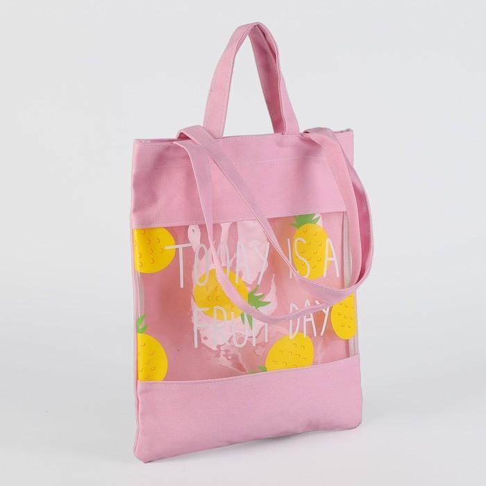 Сумка текстильная Фрукты, 31*1*37, отд без молнии, двойные ручки, розовый