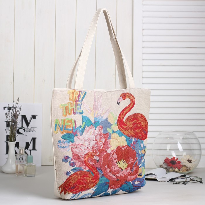 Сумка текстильная «Фламинго», отдел на молнии, подклад, цвет бежевый