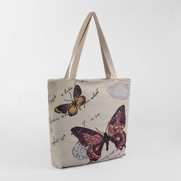 """Сумка текстильная """"Бабочка"""", отдел на молнии, с подкладом, цвет бежевый"""