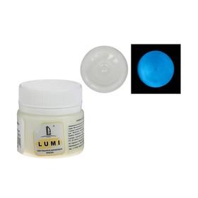 Краска акриловая люминесцентная, 20 мл LUXART Lumi небесно-голубой, небесно-голубое свечение