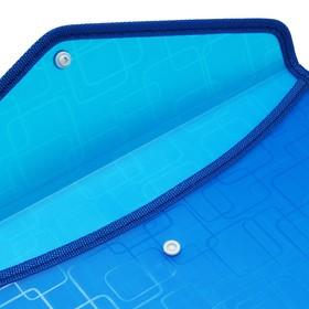 Папка-конверт на кнопке, формат А4, 330 мкр, жёсткая с кантом, квадраты, МИКС