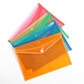 Папка-конверт на кнопке, формат А4, 330 мкр, жёсткая, с кантом, тонированная, рифлёная, МИКС
