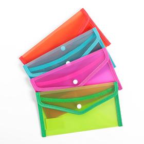 Папка-конверт на кнопке, формат В65, 330 мкр, жёсткая, с кантом, тонированная, рефлёная, МИКС