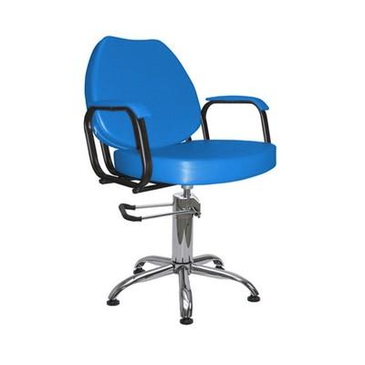 """Парикмахерское кресло """"Соло гидравлика"""", 60*65 см, пятилучье хром, цвет синий"""