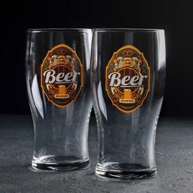 """Набор бокалов для пива 500 мл """"Пейте пиво"""", 2 шт, рисунок МИКС"""