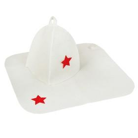 Набор банный 'С Шапкой' (шапка, коврик), белый Ош