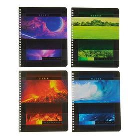 Тетрадь 48 листов в клетку на гребне Elements, картонная обложка, МИКС