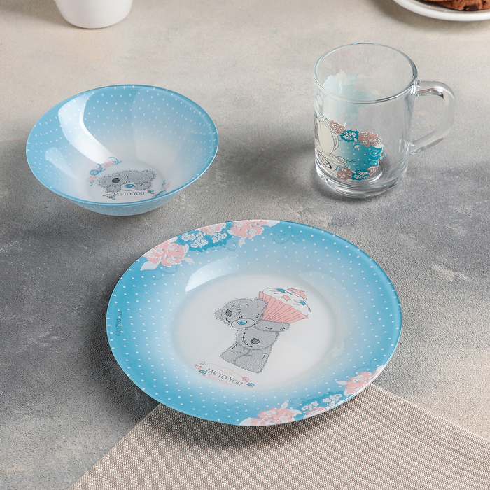 Набор посуды Me to You, 3 предмета: кружка 250 мл, салатник 320 мл 14 см, тарелка 19,5 см