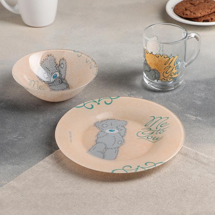 "Набор посуды ""Me to You. Барокко"", 3 предмета: кружка 250 мл, салатник 320 мл 14 см, тарелка 19,5 см"