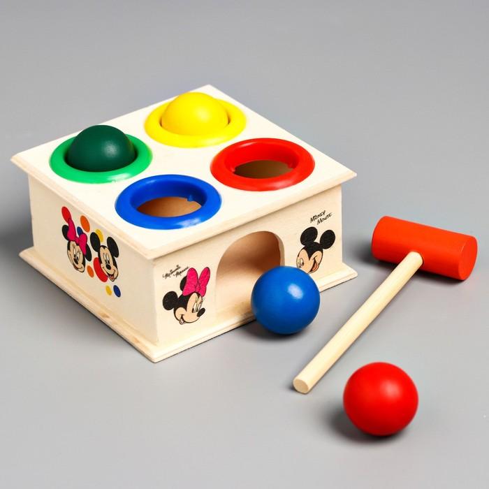 """Стучалка квадратная с 4 шариками и молоточком """"Микки Маус и его друзья"""""""