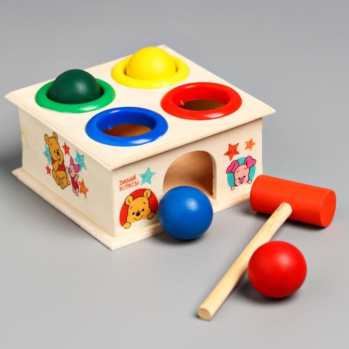 """Стучалка квадратная с 4 шариками и молоточком """"Давай играть"""" Медвежонок Винни и его друзья"""