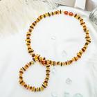 """Набор 2 предмета: бусы, браслет """"Янтарь"""" крошка через бисер, цвет желто-коричневый"""
