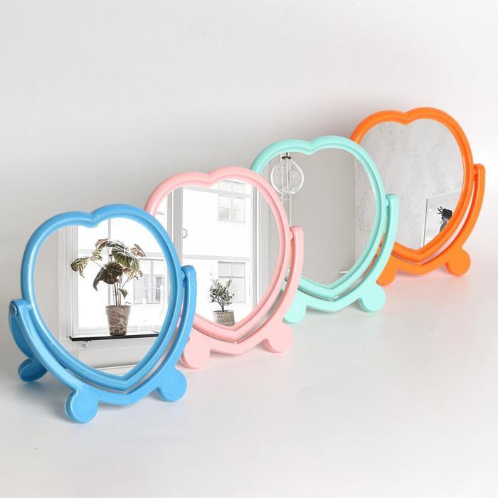 Зеркало настольное, с рамкой под фотографию, двустороннее, зеркальная поверхность 12,7 × 13 см, цвет МИКС