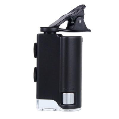 Микроскоп карманный Kromatech 60-100x мини, с креплением для смартфона, подсветкой (1 LED)
