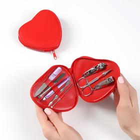Manicure set, 8 piece, red