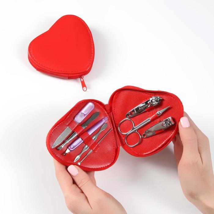 Набор маникюрный в футляре, 8 предметов, цвет красный