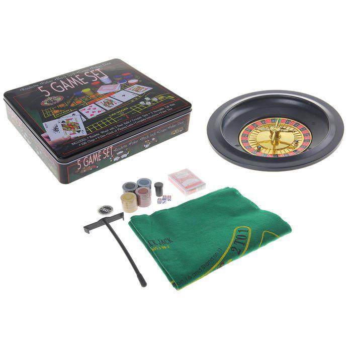Игра 5 Game Set, набор: рулетка + колода карт, 2 шарика, 4 кубика, 100 фишек с/н, сукно