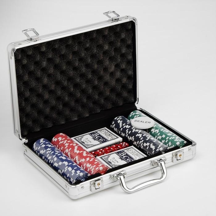 Набор для покера Poker set: 2 колоды карт по 54 шт., 200 фишек, 5 кубиков, в металлическом кейсе