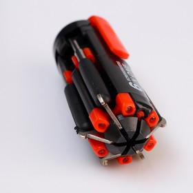 Functional flashlight, 4 led, set of 5 screwdrivers, clip