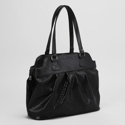 Сумка женская, отдел с перегородкой на молнии, наружный карман, цвет чёрный