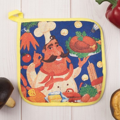"Potholder ""Share"" chef, size 17x17 cm, 100% cotton, Gunny 162 g/m2"