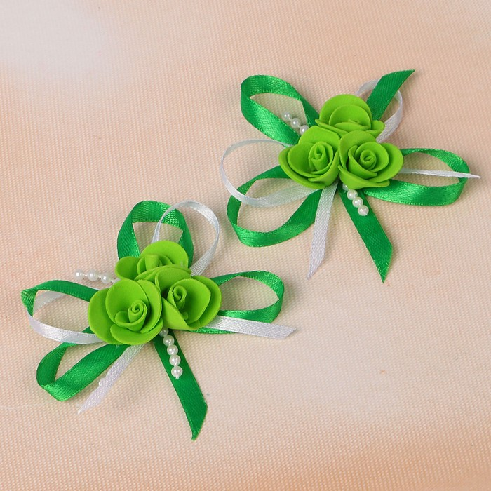 Набор бантов свадебных для декора «С тройным цветочком», D=7 см, 2 шт, изумрудный