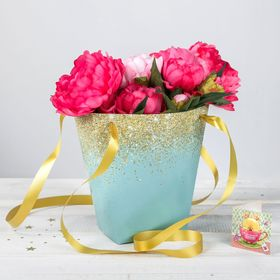 Пакет для цветов с атласными лентами «Золотистые блёстки» Ош