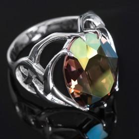 Кольцо 'Солтан', размер 18, цвет радужно-зелёный в серебре Ош