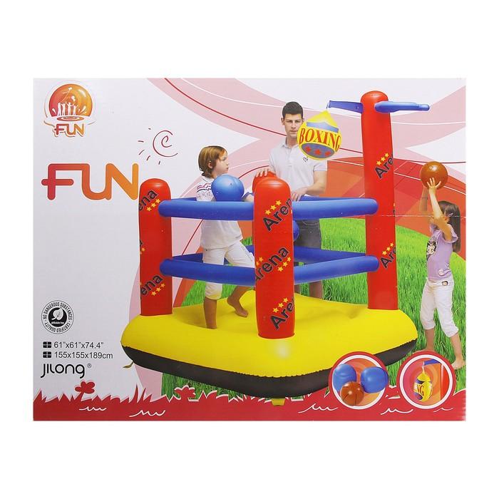 Детская спортивная арена, комплектация: 1 баскетбольный мяч, груша, 2 боксерские перчатки, от 3-6 лет