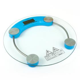 Весы напольные LuazON LVE-001, электронные, до 180 кг, голубые Ош