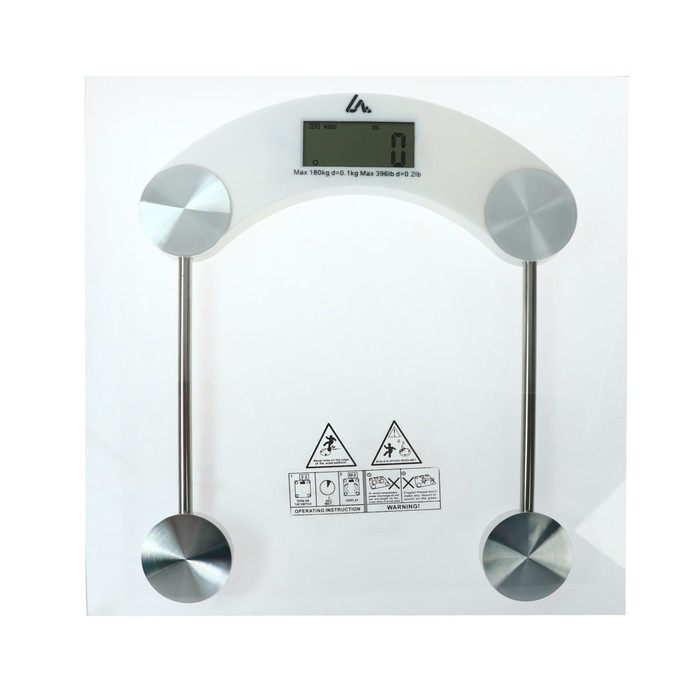 Весы напольные LuazON LVE-003, электронные, до 180 кг, от батареек (в компл.), белые