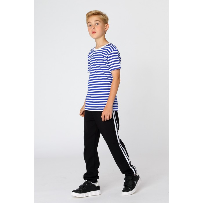 Футболка-тельняшка для мальчика, цвет синий, фт1001, рост 152 см