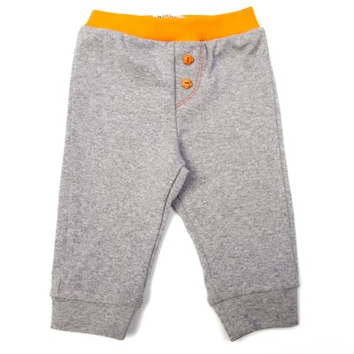 Штанишки детские, рост 74 см, цвет серый/оранжевый 7400_М