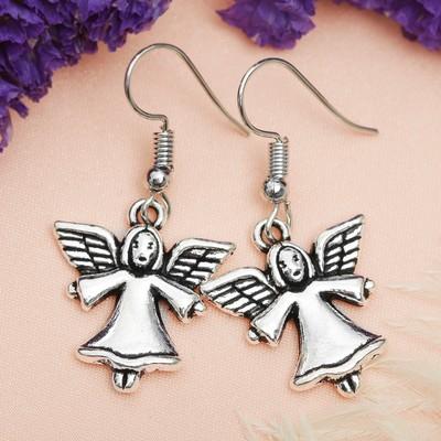 """Metal earrings """"Love"""" Christmas angels, color black silver"""