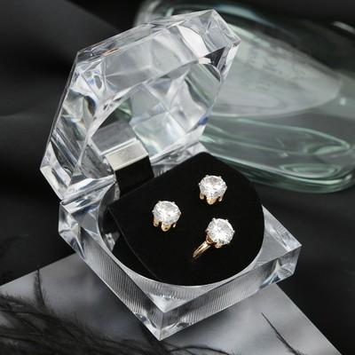 """Набор 2 предмета: серьги, кольцо """"Луна"""" циркон, круг, в коробочке, цвет белый в золоте"""