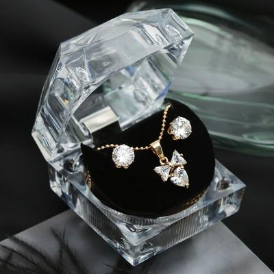 """Набор 2 предмета: серьги, кулон """"Луна"""" циркон, бант, в коробочке, цвет белый в золоте"""