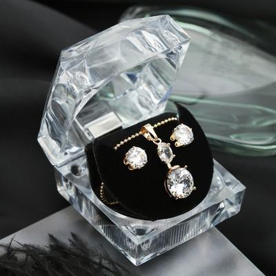 """Набор 2 предмета: серьги, кулон """"Луна"""" циркон, круг, в коробочке, цвет белый в золоте"""