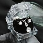 """Набор 2 предмета: серьги, кулон """"Луна"""" циркон, круг, в коробочке, цвет белый в серебре"""