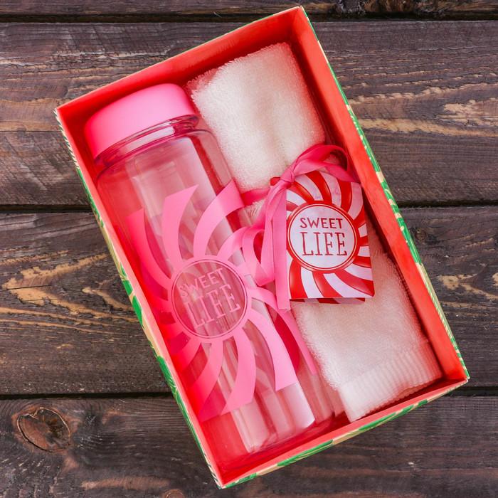 "Набор ""Sweet life"", бутылка для воды (500 мл), полотенце (30 х 30 см)"