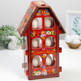 Пасхальная Подставка для яиц «Домик» (жостово), 20 х 33 см