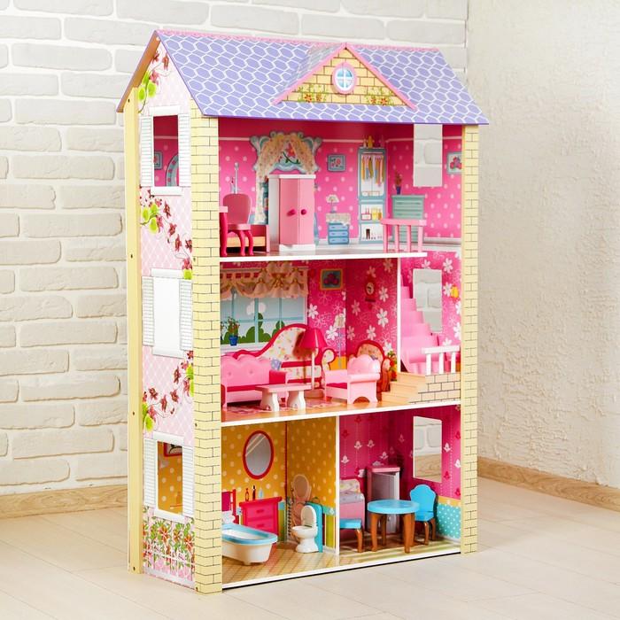 Кукольный дом «Цветочный рай», с мебелью