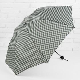 Зонт механический «Клетка», прорезиненная ручка, 4 сложения, 8 спиц, R = 50 см, цвет зелёный