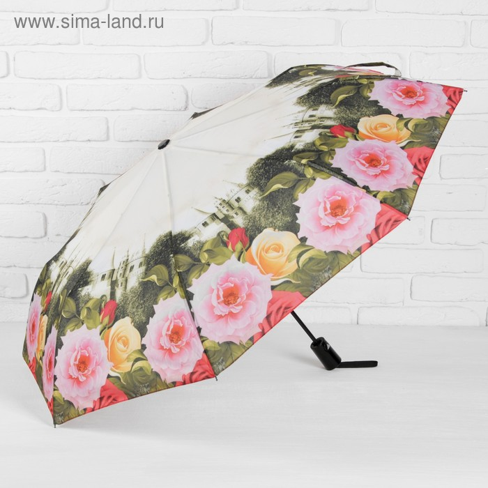 """Зонт полуавтоматический """"Цветы Розы"""", R=50см, цвет белый"""