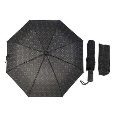 """Зонт полуавтоматический """"Узор"""", R=49см, цвет чёрный/серый"""