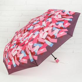 Зонт полуавтоматический «Абстракция», прорезиненная ручка, 3 сложения, 8 спиц, R = 50 см, цвет розовый