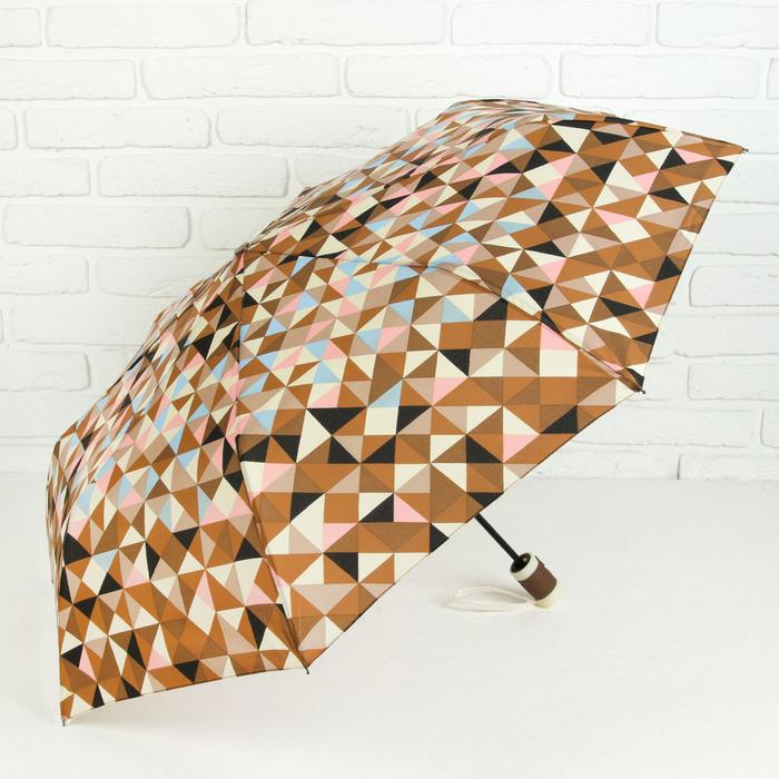 Зонт полуавтоматический «Абстракция», прорезиненная ручка, 3 сложения, 8 спиц, R = 50 см, цвет коричневый