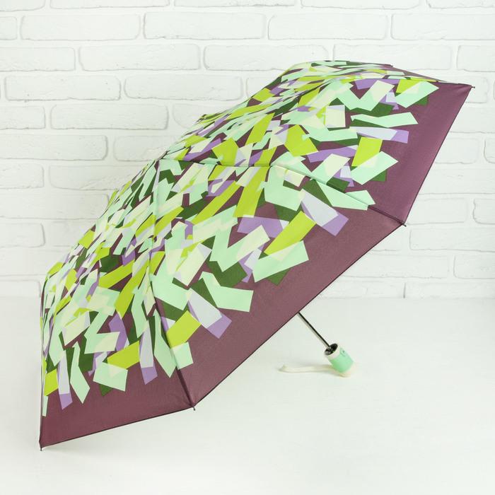 Зонт полуавтоматический «Абстракция», прорезиненная ручка, 3 сложения, 8 спиц, R = 50 см, цвет салатовый