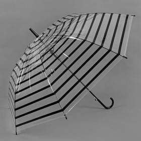 Зонт полуавтоматический 'Полоска', трость, R=46см, цвет чёрный Ош