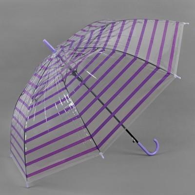Зонт полуавтоматический «Полоска», 8 спиц, R = 46 см, цвет фиолетовый