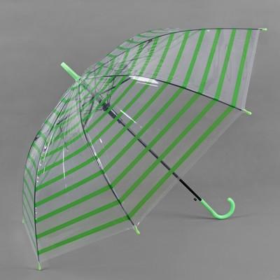 """Зонт-трость """"Полоска"""", полуавтоматический, R=46см, цвет зелёный"""